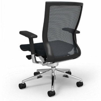 Office Chair (Wheels, Black, Back View)