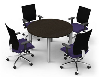 Round Table with Rolling Chairs